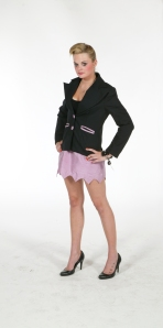 Merino wool tailor Jacket with silk angle edge mini skirt