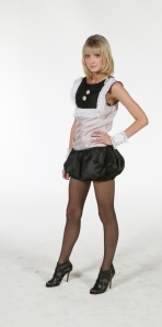 Pink and black fitted silk top with small lace ruffles at the front and silk puffy mini short