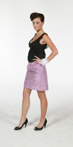 chinffon low neck puffy singlet with tight pencil skirt